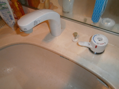 東海市 熱源機 洗面水栓 取替工事